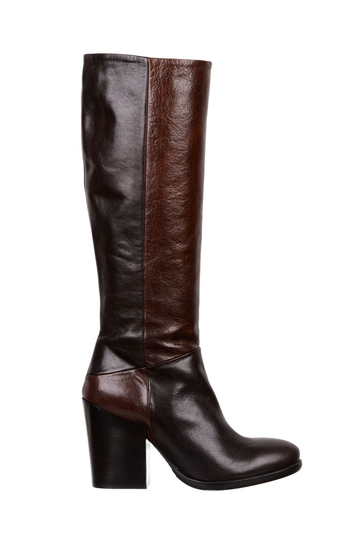 brown and black leather high boots - fiorifrancesi