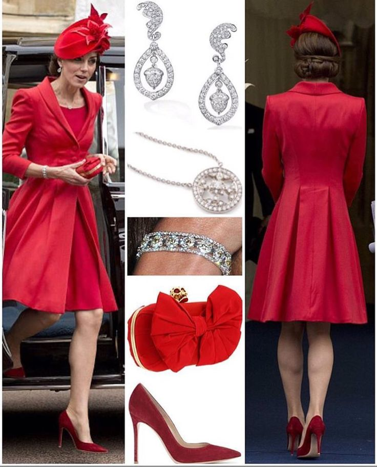 It was all repeats today with the exception of her pumps as kate wore her red catherine walker coat dress back in 2011 in canada  She paired it with her lock & Co hat worn to the Diamond jubilee river pageant in 2012 with her Alexander McQueen clutch  As for her jewelry, she wore her mappin & webb 'Empress' necklace, she wore the flower cluster Art deco bracelet borrowed from The Queen,But the most special piece is her Robinson pelham wedding earrings. The only new addition to her wardrobe…