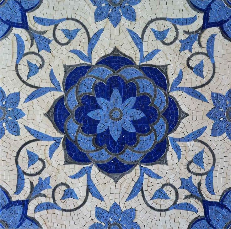 Craft a striking mosaic art tile backsplash in your kitchen with the Nalia flower mosaic square. Featuring a light and dark blue blossoms outlined in charcoal against an ivory backdrop, this decorative stone mosaic will command attention from any corner of your home.Brighten up your walls or outdoor courtyard with one our mosaic patterns!, Get it now for $296.
