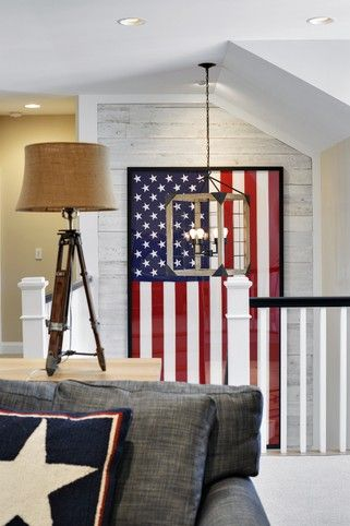 The American flag creates a unique focal point for the entire room.