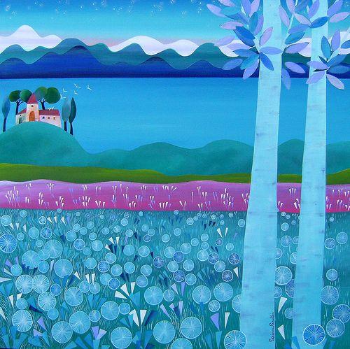 la casa dei gabbiani by Tiziana Rinaldi #art #painting #sea #landscape #evening #blue