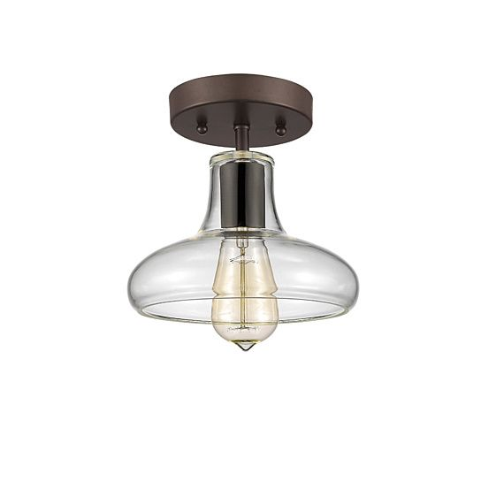 This 1-light semi flush mount features oil rubbed bronze finish that will complement many loft, urban, industrial and transitional decors. The unique shape of the clear glass shade adds interest and showcases the old fashioned 60w Edison bulb included.Disclaimers: color: Clear material: Aluminium, glass and electrical components