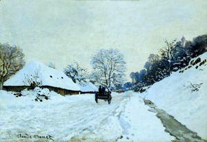 A Cart On The Snow Covered Road With Saint Simeon Farm  Claude Oscar Monet