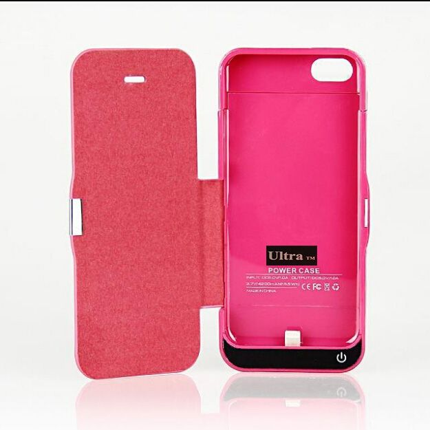 iPhone 5 5c 5s and Se model 4200 pink coloured flip power charging case