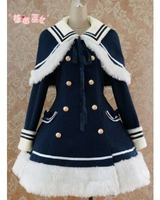 Lolita Navy Blue Sailor Style A-line Winter Jacket $88.99-Lolita Jackets - My Lolita Dress