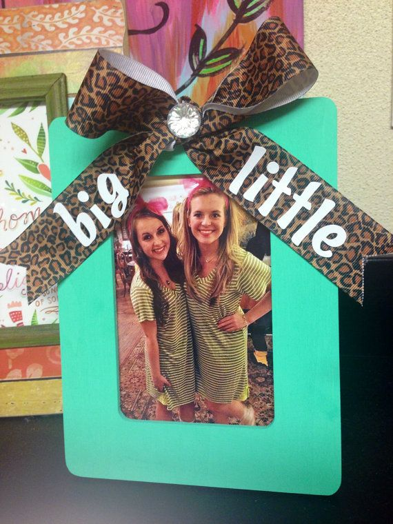 Sorority Big / Little sister Gift Picture Frame Mint blue & Cheetah Print Bow / Bling  4x6 on Etsy, $7.50