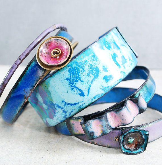 VIBRANT VIOLET  enameled bangles set by OYRZANOWSKA on Etsy