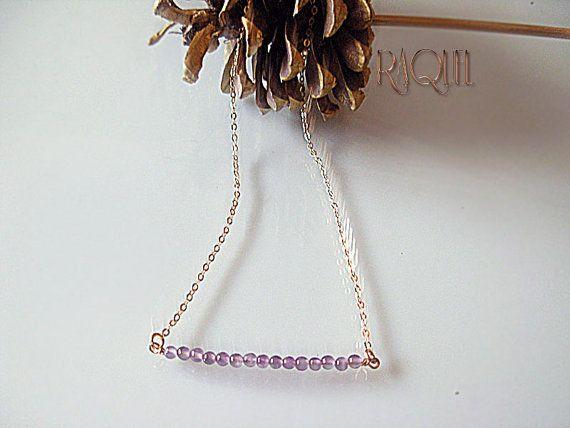 February Birthstone Amethyst Gemstone Necklace by Raquelchelouche