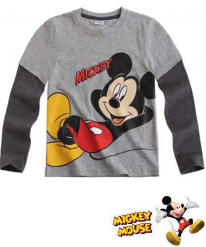 BOY'S KIDS MICKEY MOUSE OFFICIAL LONGSLEEVE T-SHIRT Sz:Age 3-8 GRAY