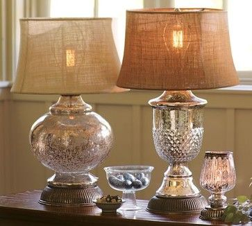 I love the combination of a mercury glass base with a burlap shade. It connects both casual and vintage style in one lamp.
