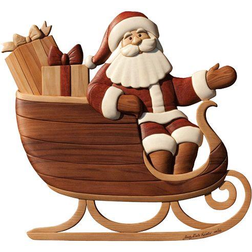 "Santa Claus in a sleigh. Beginner to Intermediate Level Intarsia Pattern. 17 ½"" x 16""59 pieces"