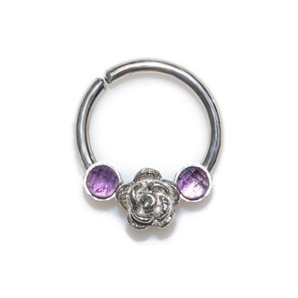 2MM AMETHYSTS SEPTUM RING SILVER #silver_septum_ring #septum_jewelry…