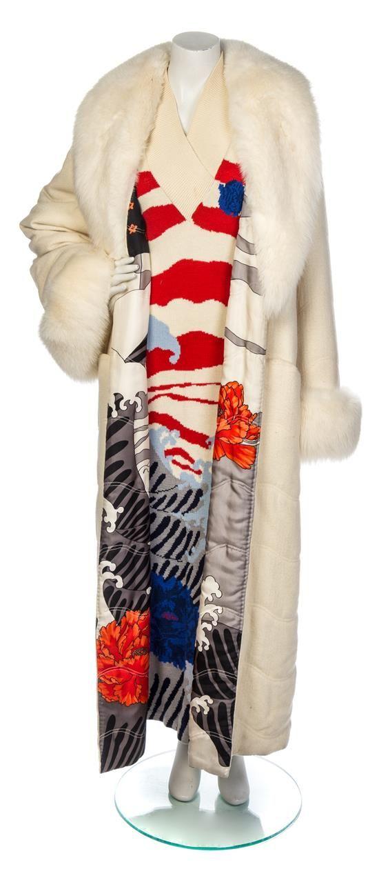 A Hanae Mori Ivory Knit Dress and Coat Ensemble.