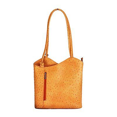 Multi-Way Orange Ostrich Leather Shoulder Bag/Backpack - £49.99