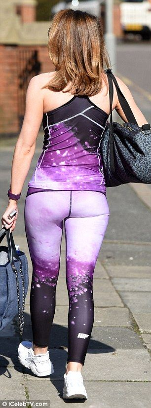 Bottom's up: Gemma, 32, slipped into a pair of purple cosmic-printed leggings which worked wonders for highlighting her perky behind