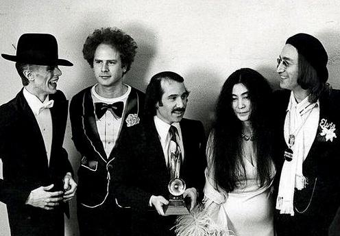 David Bowie, Art Garfunkel, Paul Simon, Yoko & John Lennon at The Grammys, March 1st 1975