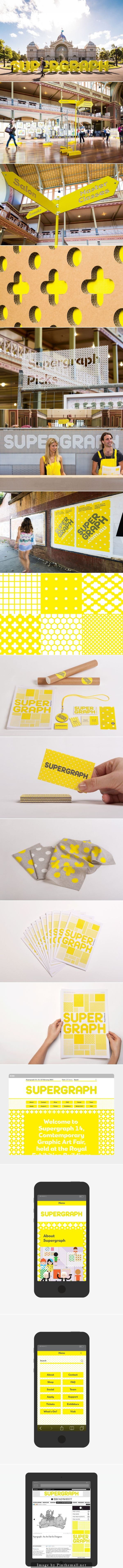 Supergraph ON THIS WEEKEND feb 14-15th. Full of illustrators sharing their wares. Pictured: supergraph identity design, environmental graphics, super graphics, signage