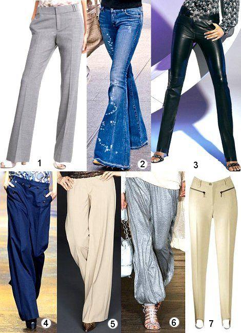 Модели брюк - фото выше: 4 - широкие брюки Марлен Дитрих (в мужском стиле), 5 - широкие брюки-паруса, 6 - шаровары, 7 - брюки со штрипками.