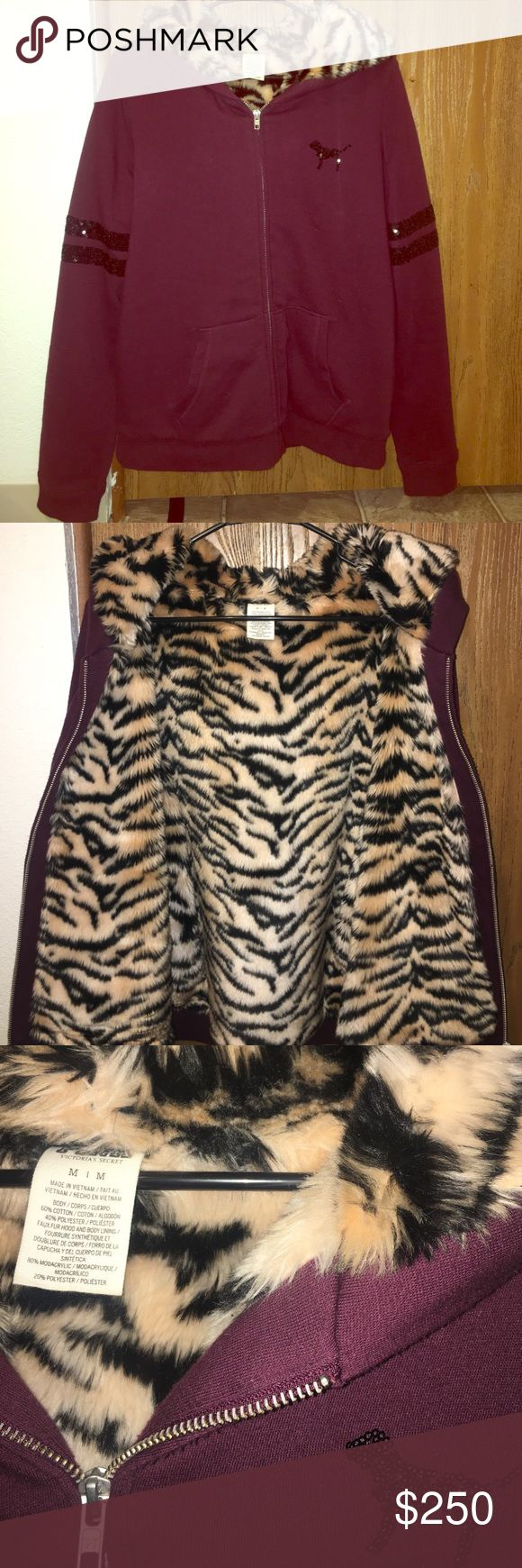 Victoria's Secret pink rare tiger fur coat I'm debating on selling this.... like new, worn up to 2-3 times max!! This is limited edition and goes for a lot. Just seeing if anyone would be interested. I'd maybe trade but it would have to be for a few items. This is the price as of now. This sells for A LOT! Trading price is $200. PINK Victoria's Secret Sweaters