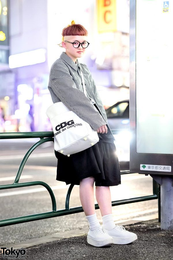 a944cc699abd Harajuku Girl w  Shaved Hairstyle in Comme Des Garcons   Tokyo Bopper  Street Style