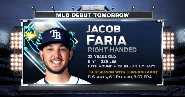 Jun 7, 2017 at 12:15p ET   Pitcher Jacob Faria will make his major league debut for the Tampa Bay Rays on Wednesday night vs. the Chicago White Sox.  More  FOX Sports Florida  Videos    Marlins try to avoid sweep in Chicago 1 hr ago     Jeff Locke says he's got a job, no excuses 11 hours...