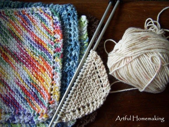 """These are so easy and fun to make that once I finish one I cast on another one! I like the fact that I can do these pretty mindlessly, and for a beginning knitter they are easy to learn and practice knitting with. The pattern I'm using is the one commonly known as """"Grandmother's Favorite Dishcloth"""" or various other names. No one is certain who"""