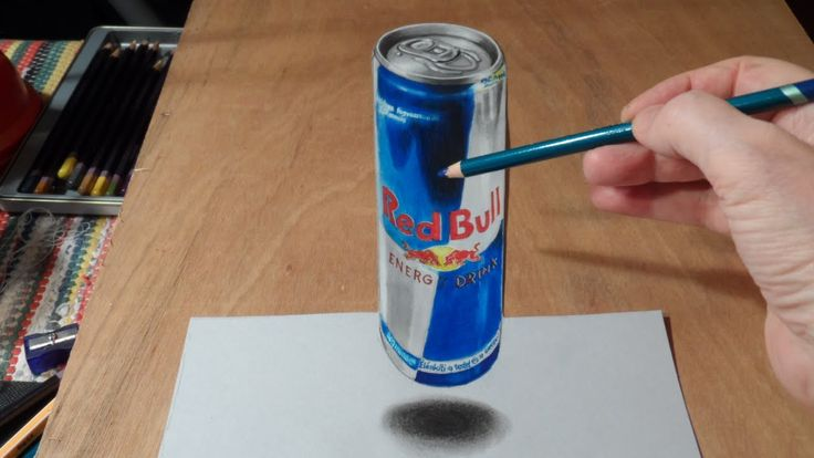 How to draw a 3D red bull can of energy drink step by step DIY tutorial instructions, How to, how to do, diy instructions, crafts, do it yourself, diy website, art project ideas