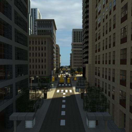 Minecraft city that looks amazing and the light between the skyscrapers on the road and the little details just make the city seem more realistic