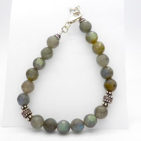 Labradorite faceted bead bracelet tiger tail stirling silver