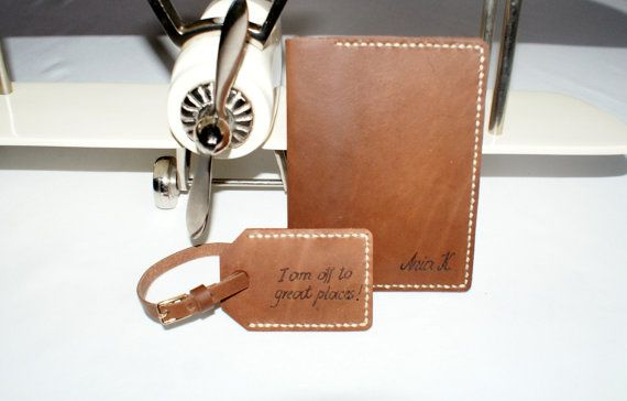 personalized leather passport holder & luggage tag in set by araga, $65.00