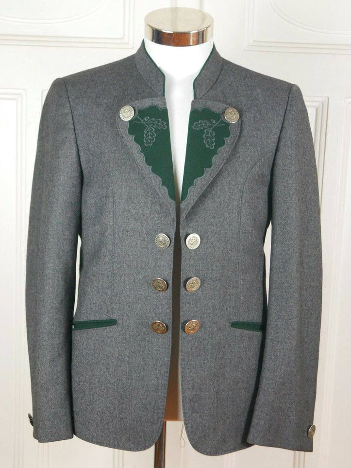 German Vintage Trachten Jacket, Gray Wool Forest Green Felt Traditional Bavarian Jacket, Faux Germanic Coin Buttons: Size 36/38 US/UK by YouLookAmazing on Etsy