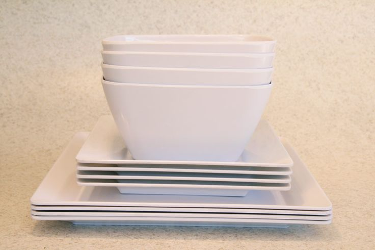 Plastic/Melamine square dining setting for 4 in white, Assistive Style $25
