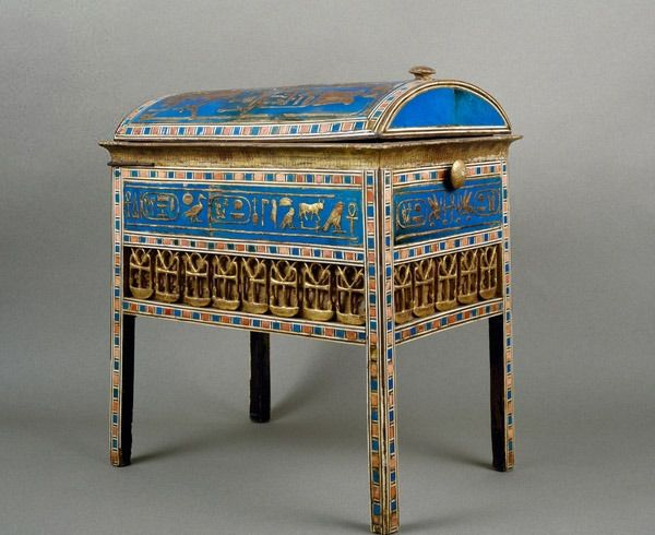 Tjuyu's casket of jewels ~ wood, gold leaf,faience,painted ebony and ivory, 41 x 38.5 x 26.8 cm, dating from reign of Amenhotep III 1388–1351 B.C. from Tomb of Yuya and Tjuyu at the Valley of Kings,Thebes.