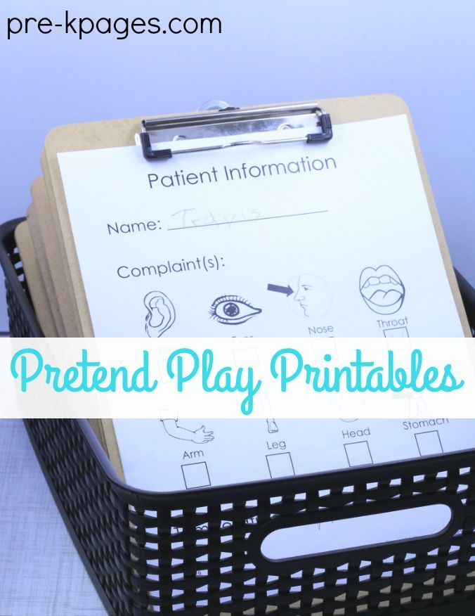 Doctor Office Pretend Play Printables. Perfect for your preschool or kindergarten kids who like to play doctor in the dramatic play center! This printable chart will help your little doctors diagnose and track patient injuries and illness. A great way to promote pretend play, oral language, and writing for a purpose at home or in the classroom!