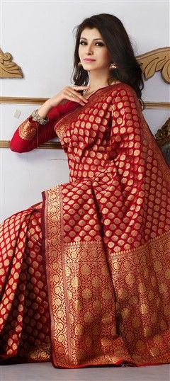 136856 Red and Maroon  color family Party Wear Sarees in Banarasi,Silk fabric with Thread work   with matching unstitched blouse.