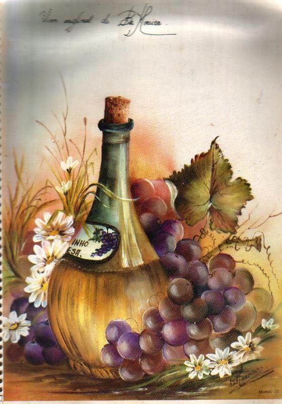 botella y uvas