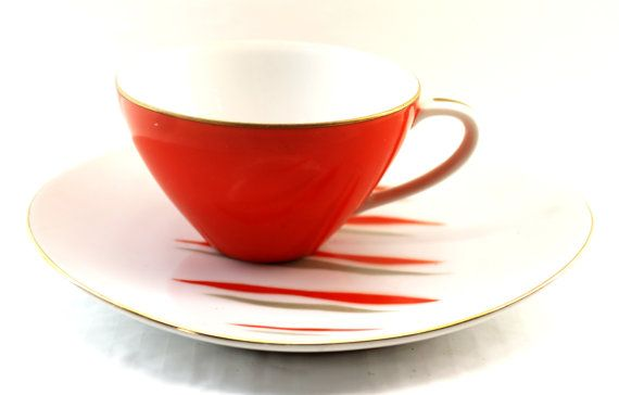 Red Mid Century Teacup and Saucer by Jyoto by HobartCollectables