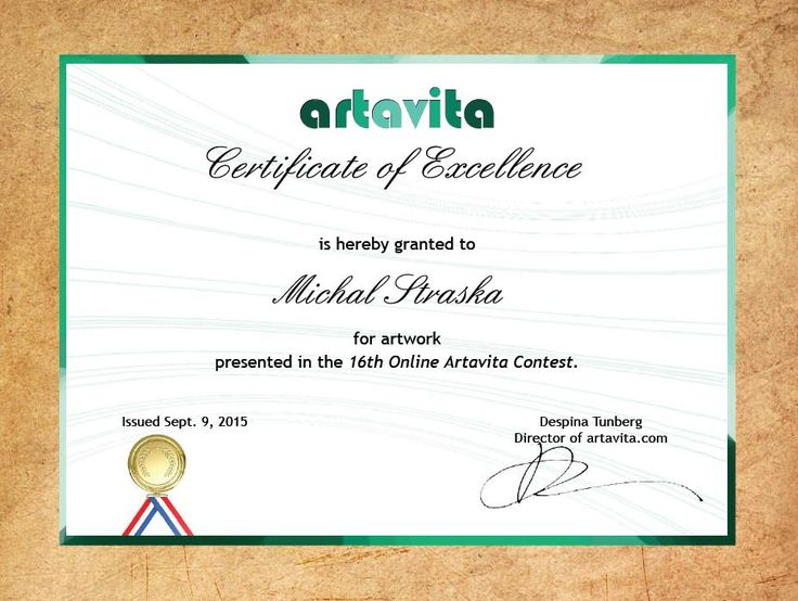 """As one of runner-ups awarded with """"Certificate of Excellence""""  in 16th Artavita online competition in USA and also invited to promote during 2.-6.12.2015 in Miami Basel"""
