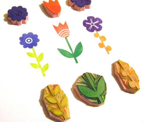 Flower Garden Stamp Set of 6 hand carved rubber stamps