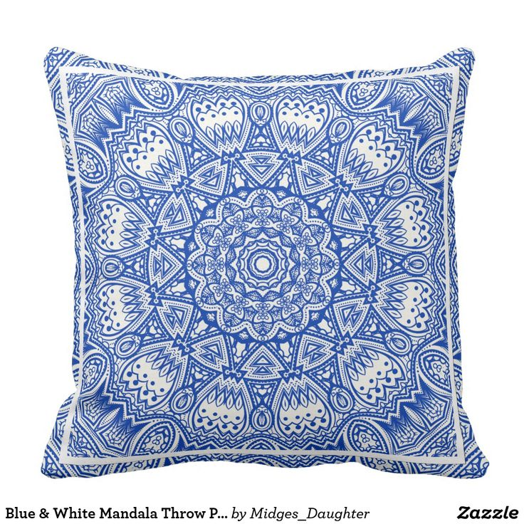 Blue & White Mandala Throw Pillow