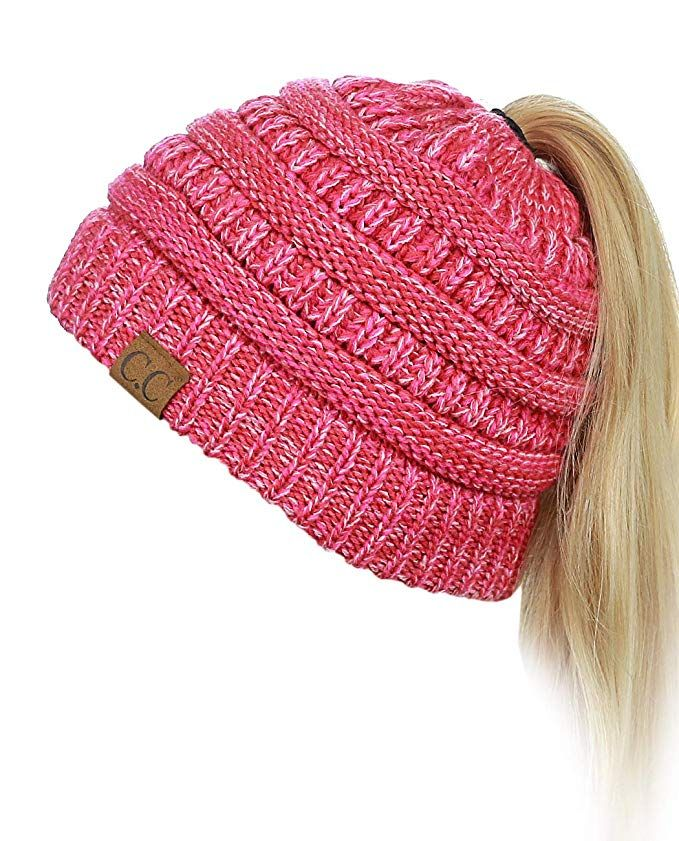 02cb4bcafa9 C.C BeanieTail Soft Stretch Cable Knit Messy High Bun Ponytail Beanie Hat,  3 Tone Coral