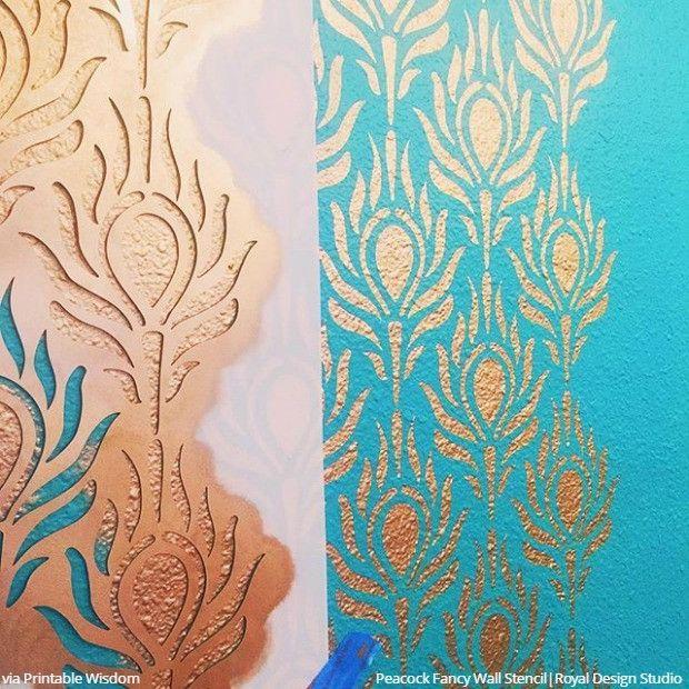 strut your style 10 diy decor ideas peacock feather wall stencils feather wallpaperpeacock feathersdesign - Wallpaper Wall Designs