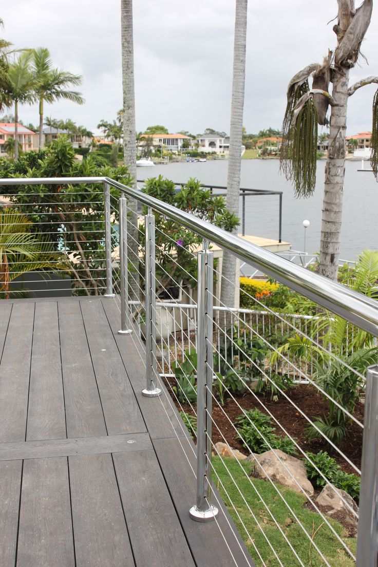 Custom made stainless steel post and handrails, welded onsite with nutsert swage stud balustrade system.  Satin polish finish.  Outdoor DIY or Trade Project.