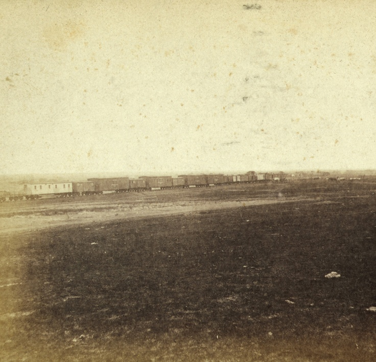 construction train west of fort hayes, kansas — 1867