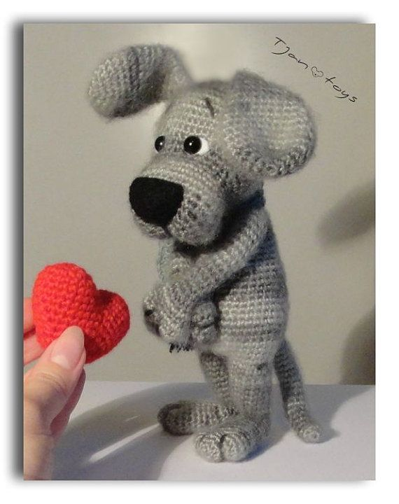 Puppy with Heart Valentine's Day gift OOAK Stuffed Animals от Tjan