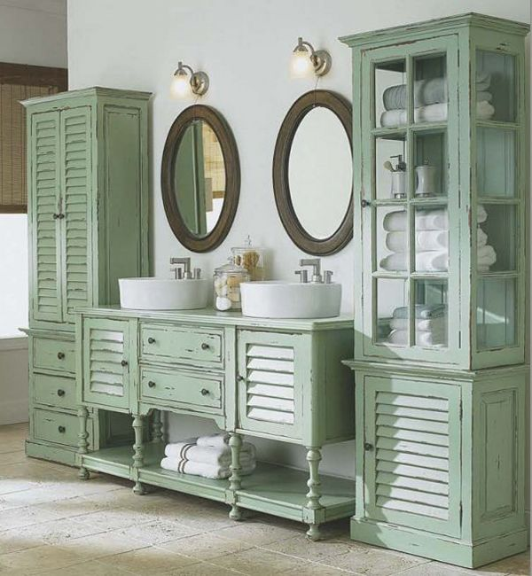Beautiful Bathroom Vanity And Matching Side Cabinets Bathroom Cabinetry Shutter Doors