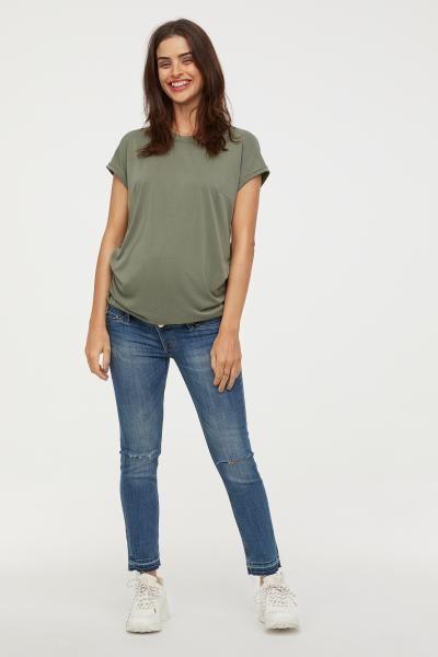 db7fe29549b40 MAMA Skinny Ankle Jeans - Denim blue/Trashed - Ladies | H&M US 2 ...