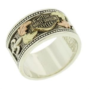 Harley Davidson 174 Men S Gold Accent Leaves Band Ring Hrg7476 Men S H D Rings Pinterest