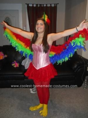 Homemade Parrot Costume: This Homemade Parrot Costume was such a fun time. A fun time to make and a fun time to wear. My most favorite part was the rubber gloves on the feet! I