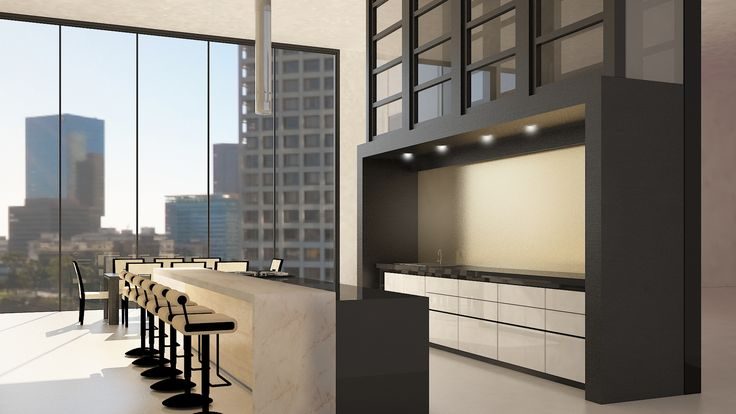 Penthouse - Kitchen View 2 / Interior Design / 3DS Max + Vray Rendering / By Terry Kuo